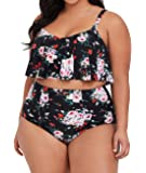 Womens Plus Size High Waisted Swimsuit Floral Bikini Ruffle Flounce Two Piece Swimwear Monokini