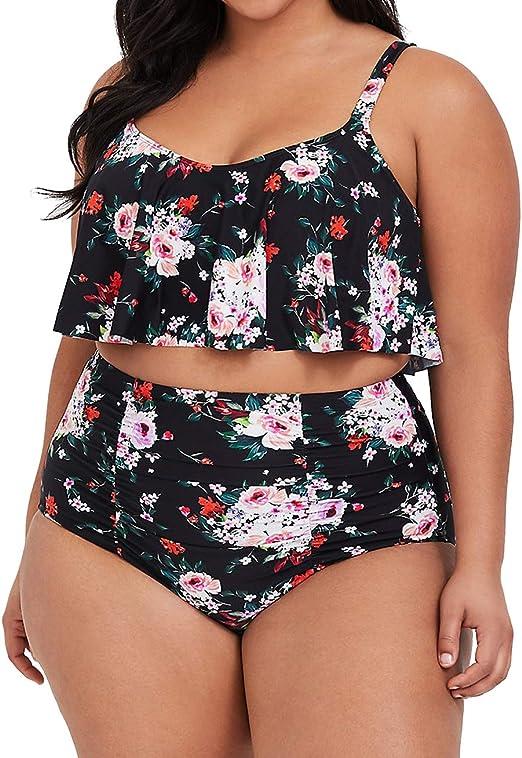 Amazon.com: Traje de baño de cintura alta para mujer con ...