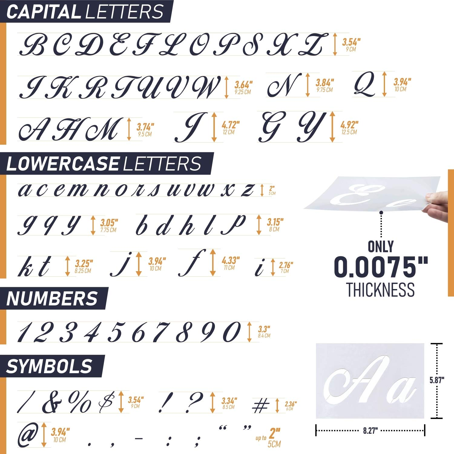 Reusable Plastic Art Craft Stencils with Numbers and Signs Alphabet Stencils with Calligraphy Font Upper and Lowercase Letters Set of 36 PCs 8.27x5.87 Letter Stencils for Painting on Wood