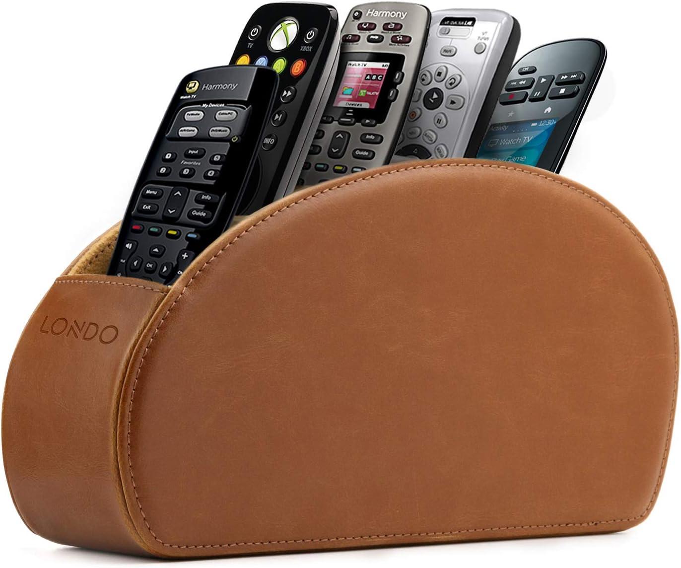 Londo – Soporte para Mando a Distancia con 5 Bolsillos – Espacio para DVD, BLU-Ray, TV, Roku o Apple TV – Piel con Forro de Ante (marrón Claro)