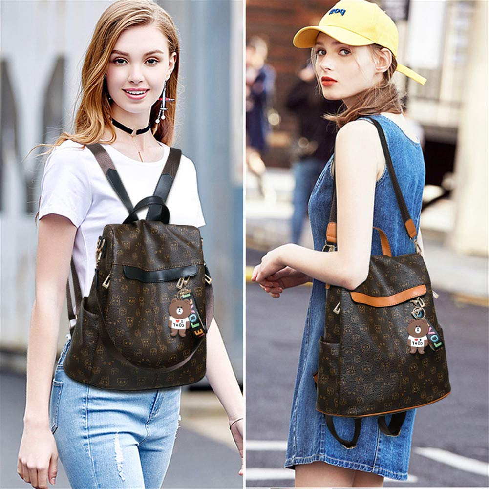 Women Backpack Fashion Purse Soft PU Leather Anti-theft Lightweight School Ladies Travel Shoulder Bag