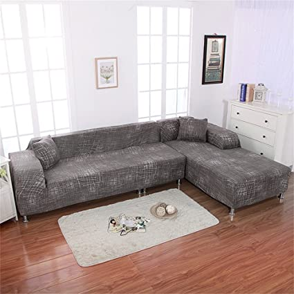 Beacon Pet Universal Sofa Covers For L Shape, 2pcs Polyester Fabric Stretch  Slipcovers + 2pcs