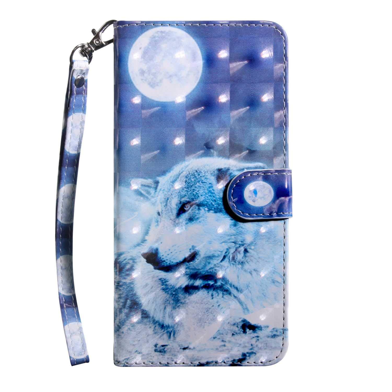 Xiaomi MI 5X Case CUSKING Magnetic Wallet Case for Xiaomi MI 5X [Card Slot] [Hand Strap] [Flip Case] [Easy to Clean] Full Body Proective Case - Blue, Wolf