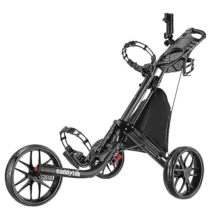 CADDYTEK ez-fold 3 Rueda de golf empuje cart-dark gris con bolsa de almacenamiento