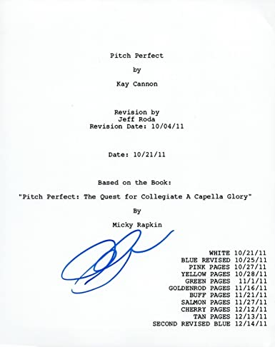 anna kendrick signed autographed pitch perfect full movie script coa
