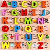 FunBlast Wooden Alphabet and Number Puzzles Toys for Children, Montessori Digital Board Educational Learning Letters Puzzle Toy (Capital Letter)
