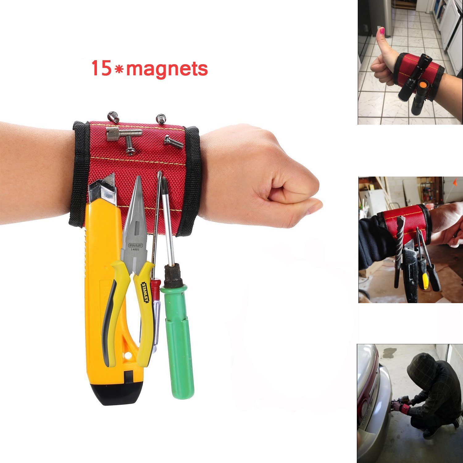 Magnetic Wristband,Amtake tool with 15 Magnets for Holding Screws, Nails, Drill Bits - Best Unique Tool G-ift for Men, Women,DIY Handyman, Father/Dad, Husband, Boyfriend, Him