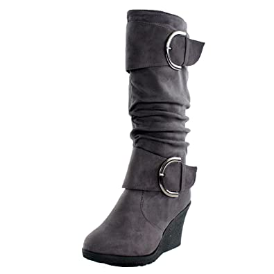 fa9b44ff30a7 TOP Moda Pure 2 Womens Buckle Slouch Wedge Boots Grey 5