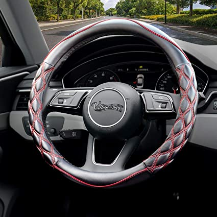 Universal Car Steering Wheel Cover PU Leather Stitching Black 15 inches 38cm