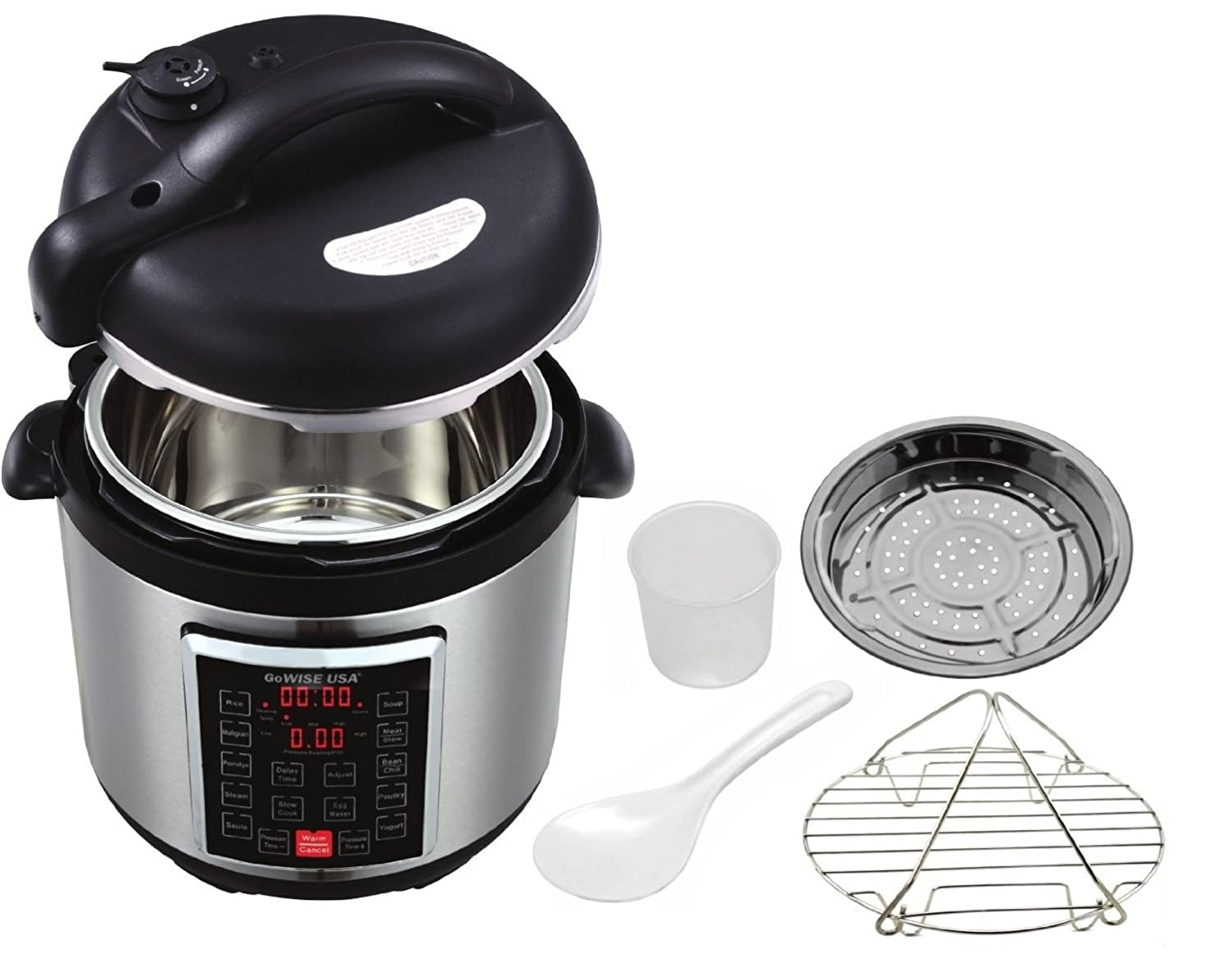 GoWISE USA GW22623 4th-Generation Electric Pressure Cooker with Steam Rack, Basket, and Rice Scooper