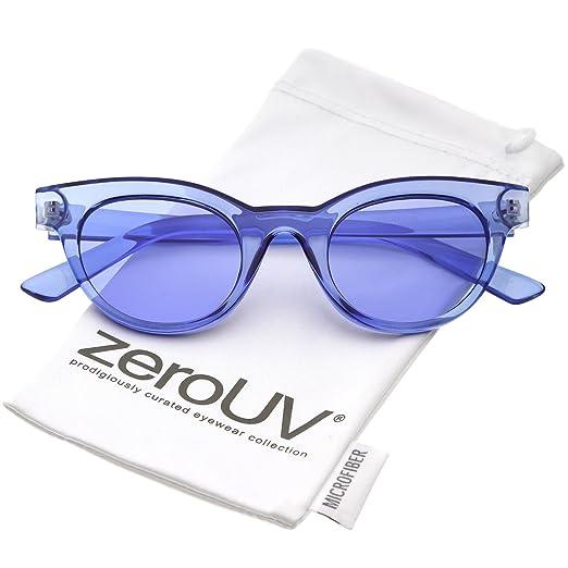ef5eb3106803e zeroUV - Women s Transparent Horn Rimmed Color Tinted Round Lens Cat Eye  Sunglasses 47mm (Blue