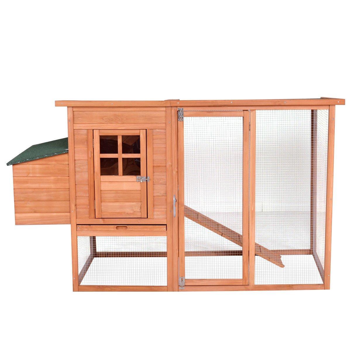Tangkula Chicken Coop 68'' Rabbit Hutch Wooden Garden Backyard Bunny Hen Small Animal Cage Nest Box with Run