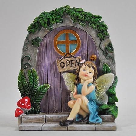 Prezents.com - Figura decorativa para jardín de hadas y árbol de puerta, diseño de hadas y árbol de puerta, 10 cm, color azul: Amazon.es: Hogar