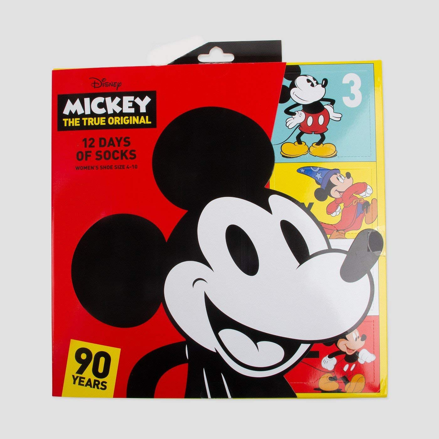 Womens Disney Mickey Mouse 12 Days of Socks Gift Set 90th Anniversary by Disney