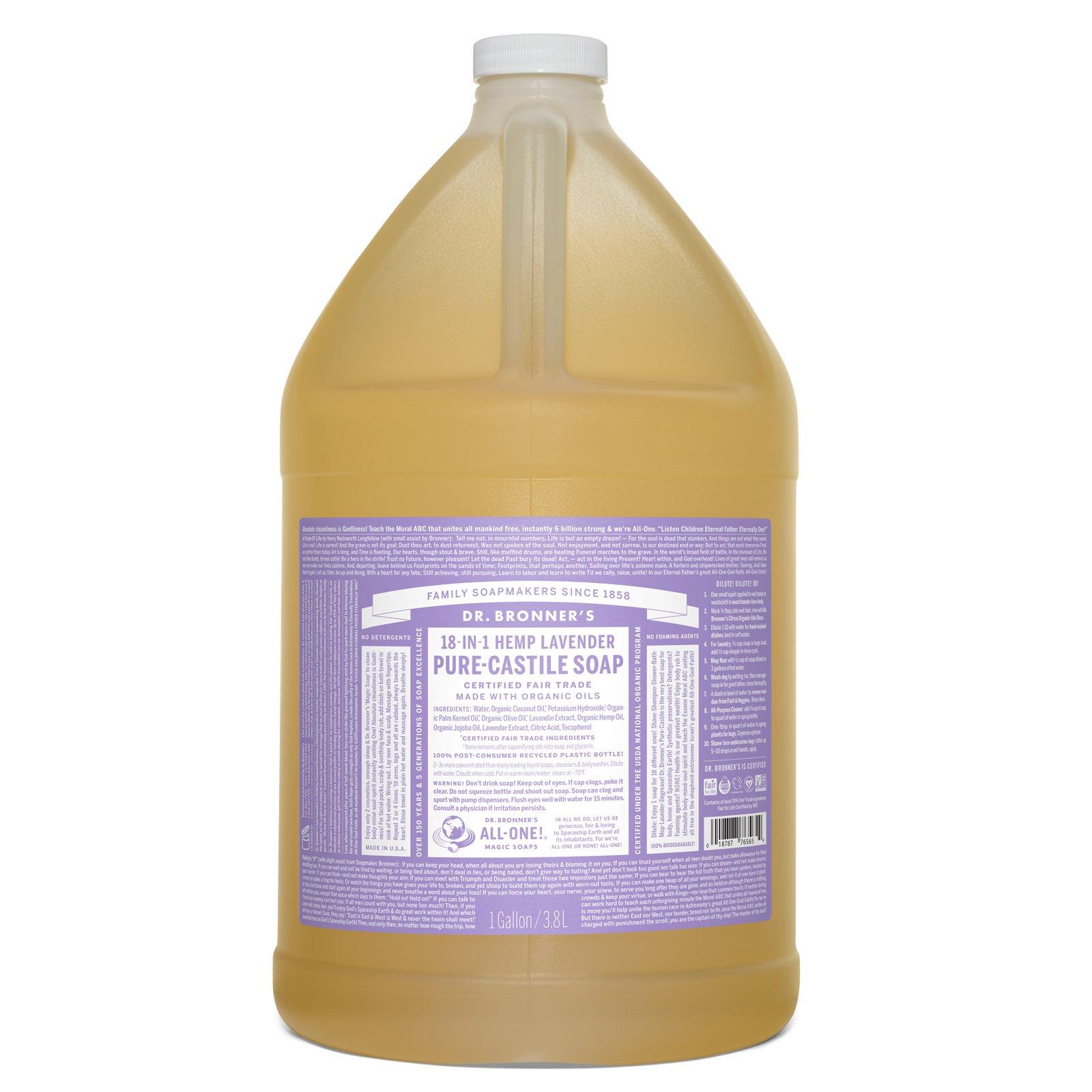 Dr. Bronner's Pure-Castile Liquid Soap - Lavender, 1 Gallon