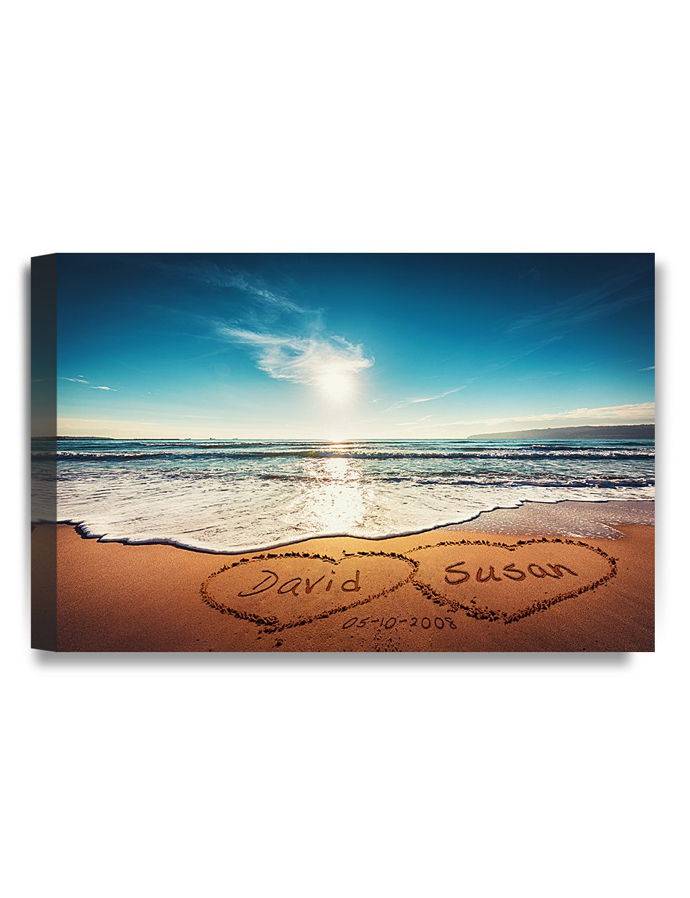 IPIC - ''Heart in Heart'', Personalized Artwork with Names and Date on, Perfect love gift for Anniversary,Wedding,Birthday and Holidays. 7#P (18x12'')