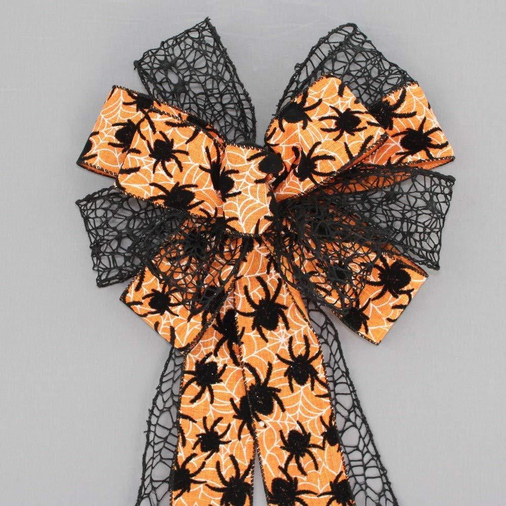 Orange Flocked Spider Mesh Halloween Wreath Bow - 10