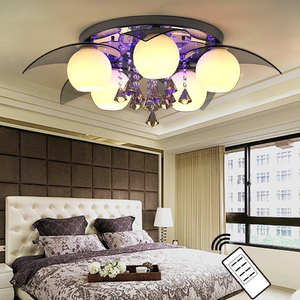 NatsenR LED Deckenlampe 5 Flammig InklLED E27 80cm Kristall Deckenleuchte Designer Wohnzimmer Lampe Mit Fernbedienung Amazonde Beleuchtung