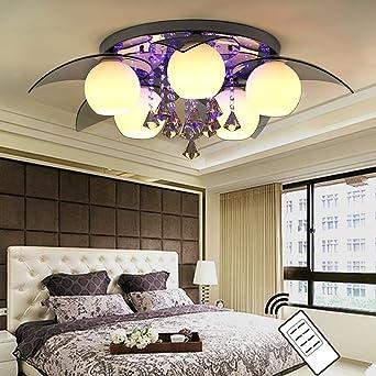 NatsenR LED Deckenlampe 5 Flammig InklLED E27 80cm Kristall Deckenleuchte Designer Wohnzimmer
