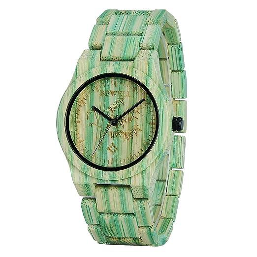 BEWELL Relojes Madera Hombre Analógico Cuarzo Japonés con Correa de Bambu Redondo Casual Relojes de Pulsera