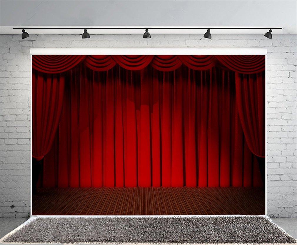 YongFoto 2,2x1,5m Vinyle /Étape Toile de Fond Rideau Rouge Parquet pour C/ér/émonie douverture de l/école pour F/ête Un /év/énement La Photographie Fond vid/éo Accessoires de Studio Fond d/écran