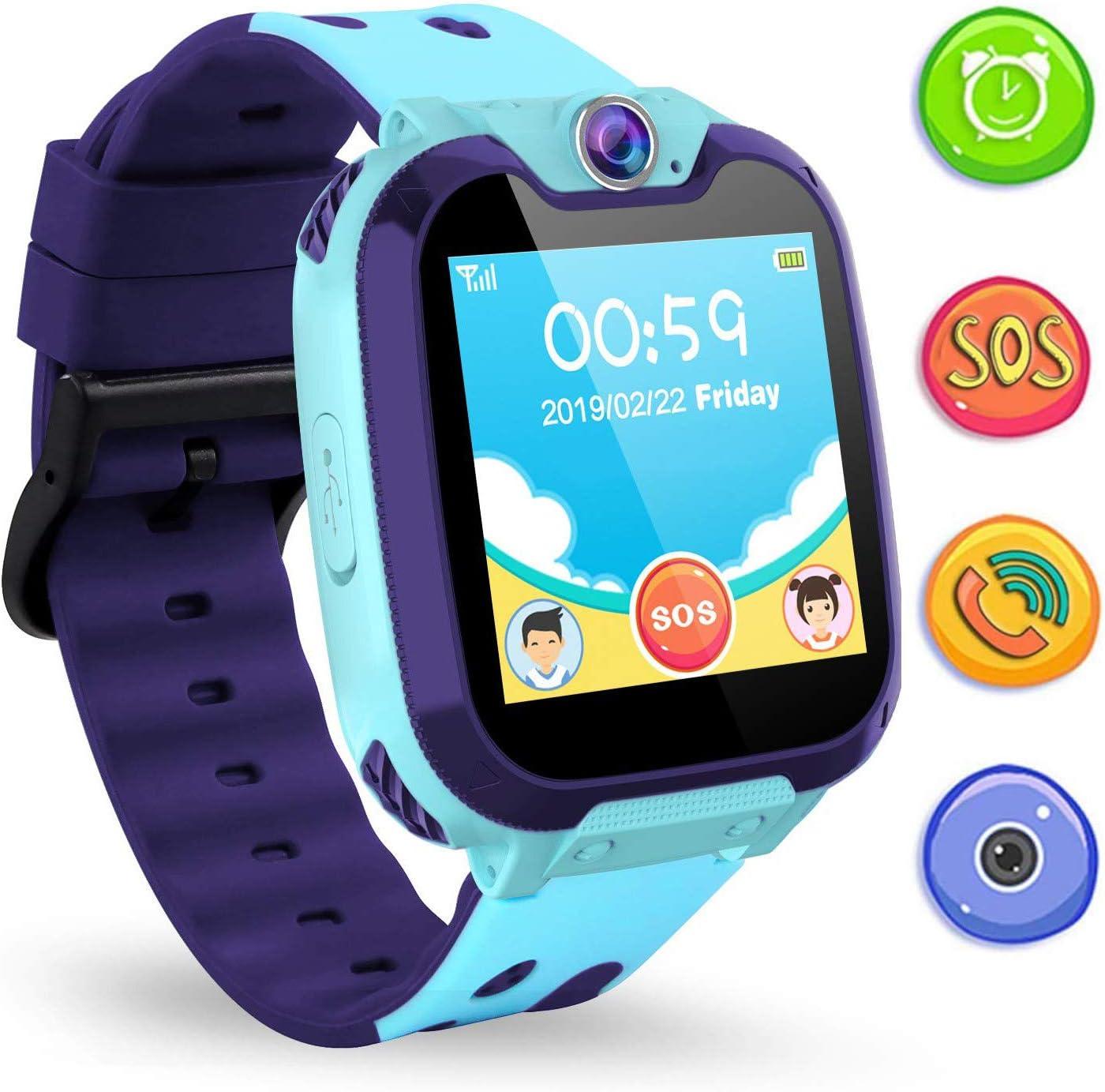 Jaybest Niños SmartWatch Phone - Niños Smartwatch con Linterna de Llamada SOS cámara Pantalla táctil Juego Smartwatch Childrens Gift(Azul)