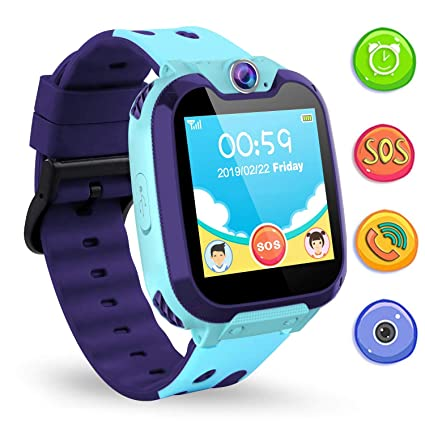 Jaybest Kinder SmartWatch Phone Digital Watch with 7Games, Music, Camera,SOS and 1.44 inch Touch LCD for Boys Girls Birthday (Blue)