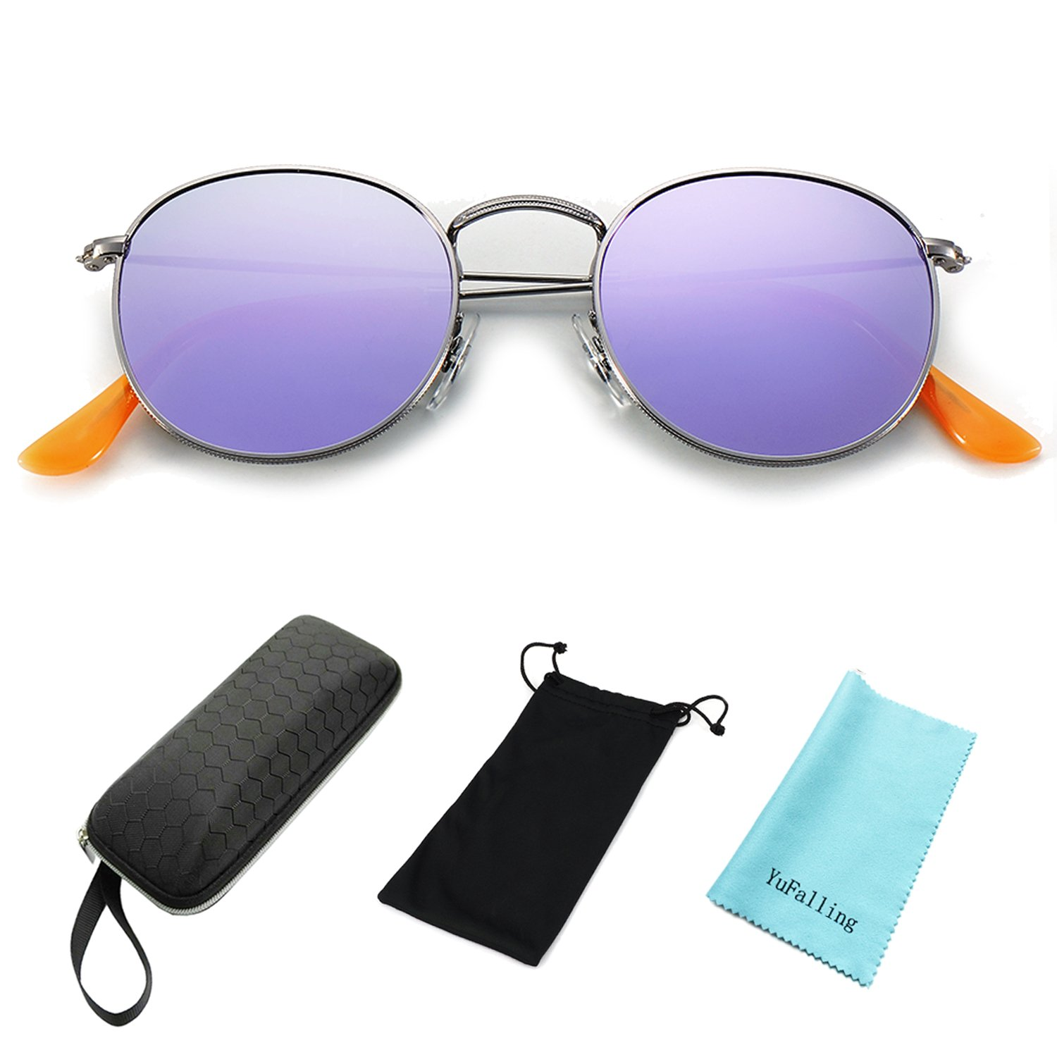 YuFalling Polarized Sunglasses for Men and Women, Classic Vintage Small Round Lens (purple, 50)
