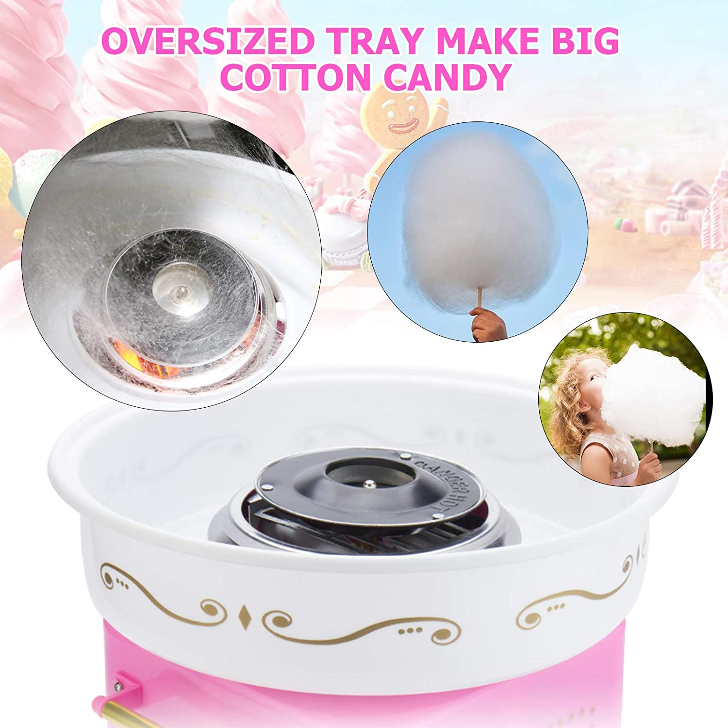 Gulito Mini Cotton Candy Machine,DIY Cotton Candy Floss Maker Easy for Use,Pink Trolley Creative Christmas Gift Perfect for Kids