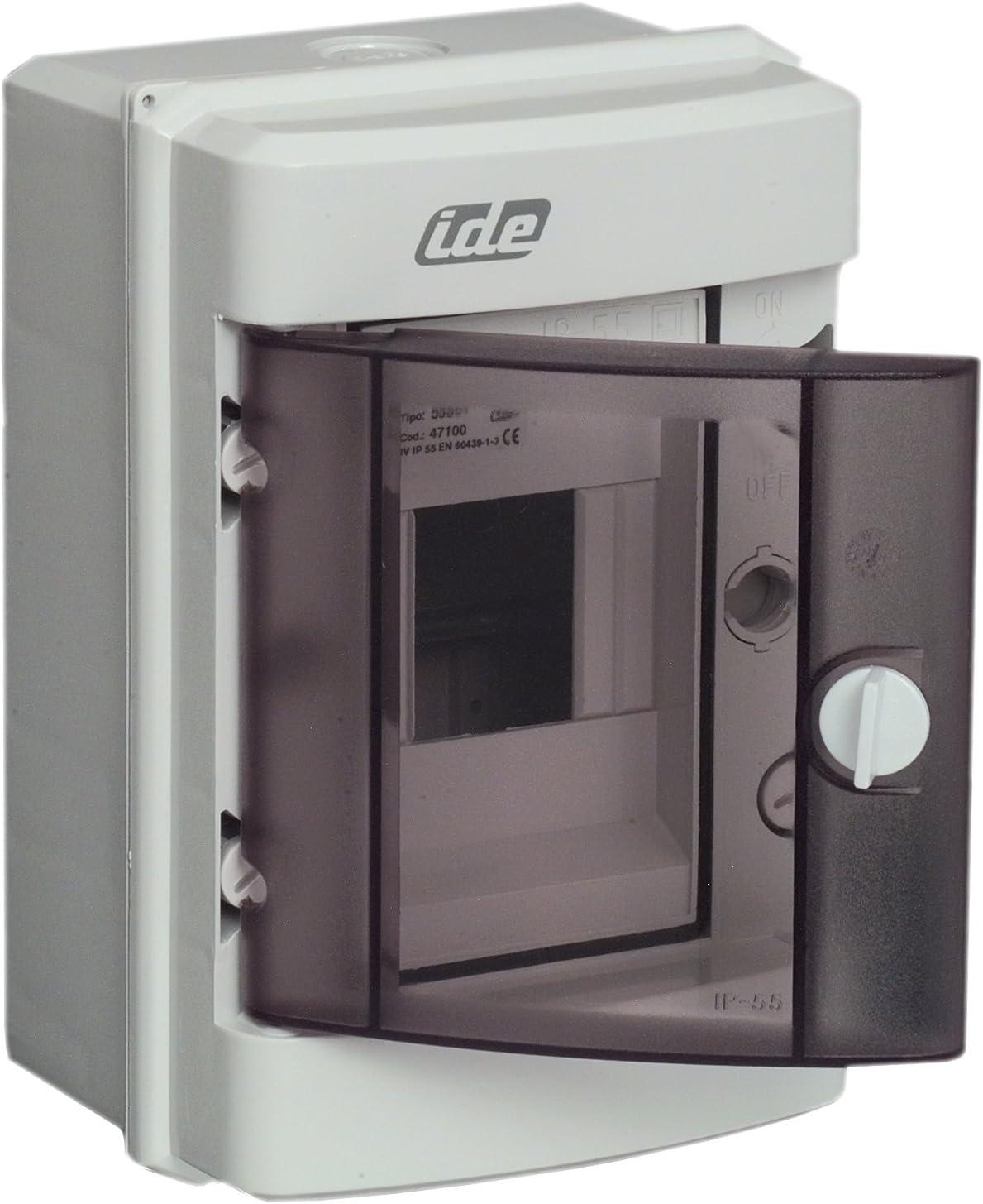 1 x 4 Module IP 55 grau UNITEC 47100 Kleinverteilung Aufputz