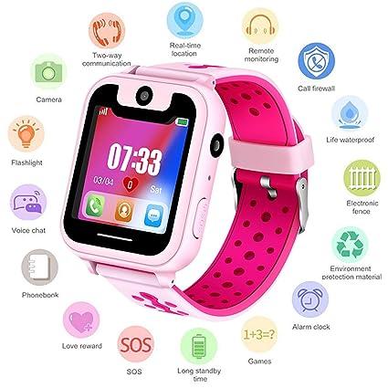 Niños Smartwatch Phone - Reloj de Pulsera Inteligente con Localizador LBS SOS Cámara Linterna Despertador Juegos Reloj Digital para Mirar Regalos Niño ...