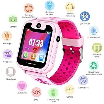 Niños Smartwatch - Reloj de Pulsera Inteligente con ubicación GPS/LBS Reloj Despertador SOS Reloj Digital Cámara Linterna Juegos para niños ...