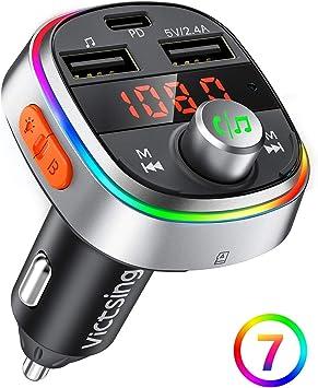 Bluetooth V5.0 sans Fil avec Appel Main Libre Support Carte TF//Cl/é USB Adaptateur Bluetooth Voiture Double USB pour Chargeur Rapide VICTSING Transmetteur FM Bluetooth QC3.0 7 Lumi/ères Color/ées