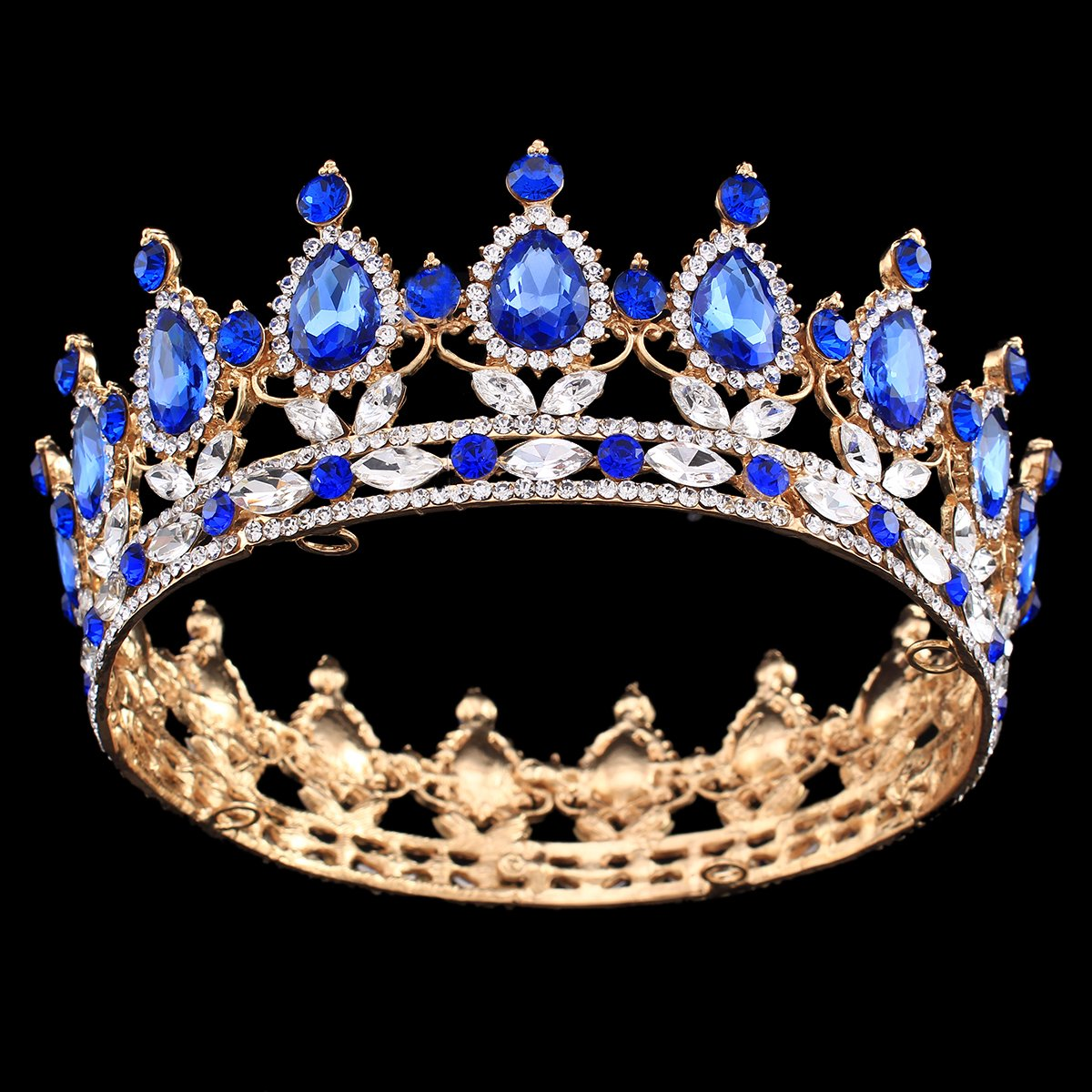 0621547b5273 Amazon.com   Ulike2 King queen Crown Red Ruby Stone Sapphire Tiaras Gold  silver Plated Hair Jewelry (13 )   Beauty