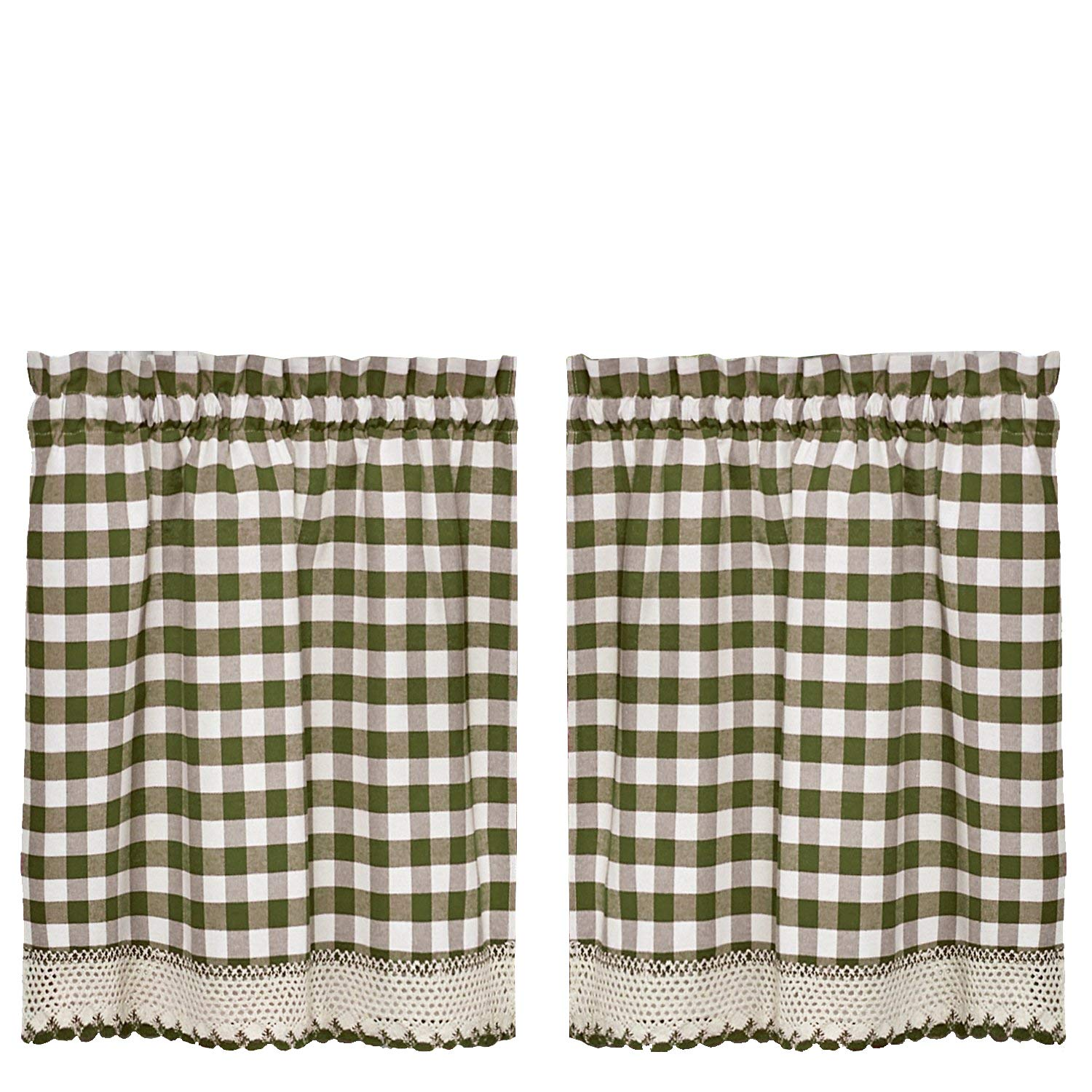GoodGram Buffalo Check Plaid Gingham Custom Fit Window Curtain Treatments Assorted Colors, Styles & Sizes (24 in. Tier Pair, Sage)