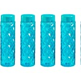 Steelo Sancia Plastic Water Bottle, 1 Litre, Set of 4, Turkish Blue