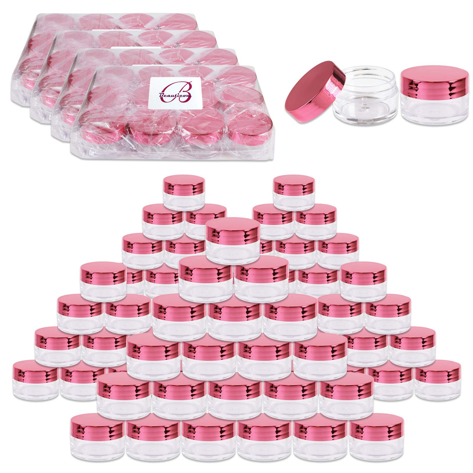 Beauticom 20g/20ml USA Acrylic Round Clear Jars with Lids for Lip Balms, Creams, Make Up, Cosmetics, Samples, Ointments (240 Jars, Metallic Rose-Pink Gold) by Beauticom