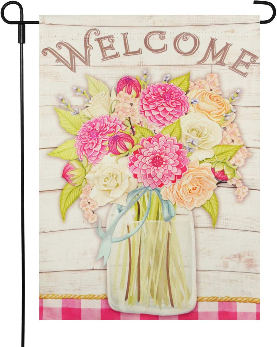 LAYOER Summer Garden Welcome Flag Flowers Flags Yard Decor Mason Jar Double Sided Banner 12.5 x 18 inch