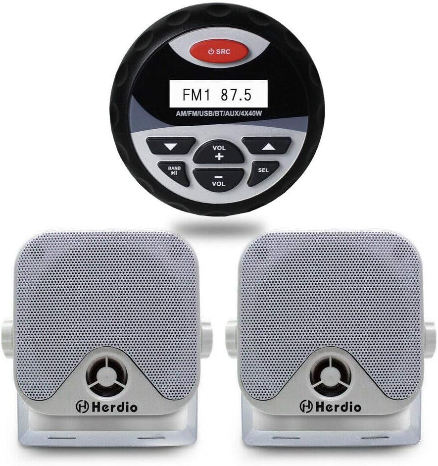 MP3//USB AM//FM Marine Stereo Bundle for Boat ATV UTV SPA Bluetooth Herdio Receiver//Speaker Package White