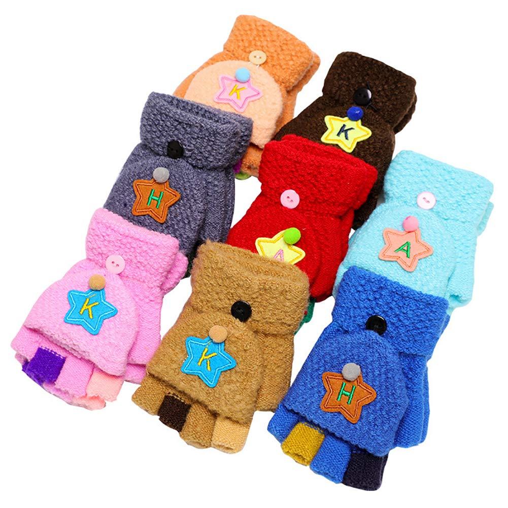 YUnnuopromi Guantes de Invierno para niñ os/bebé s niñ as con diseñ o de Estrella de pompó n, sin Dedos, Random Color