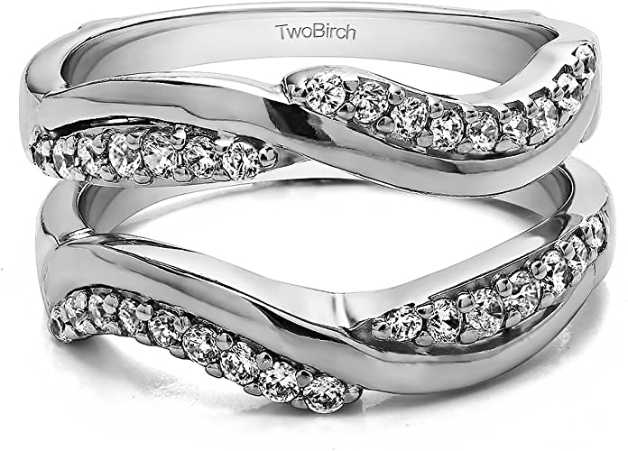 0.57 ct. TwoBirch Sterling Silver Double Infinity Wedding Ring Guard Enhancer With Cubic Zirconia