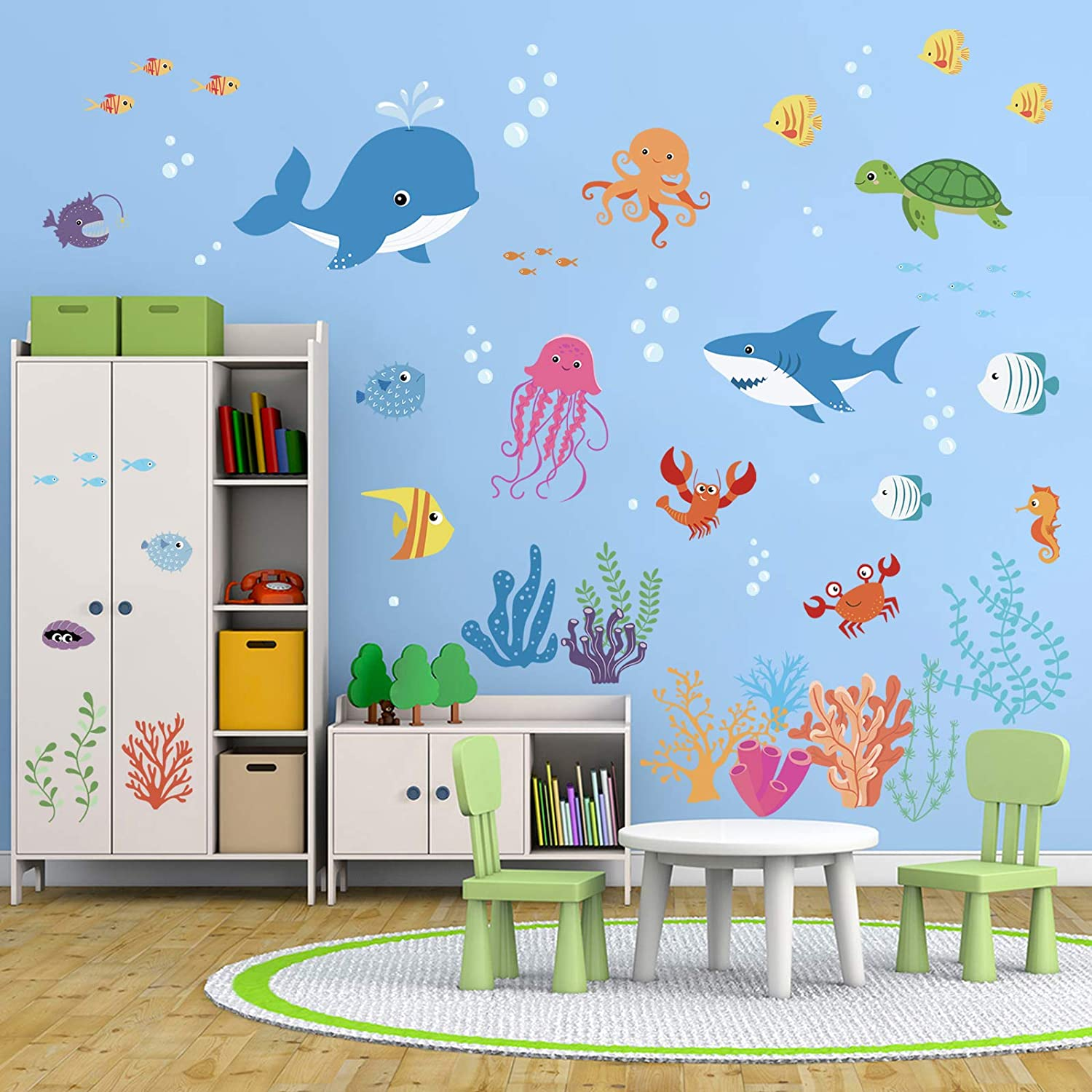 Decalmile Under The Sea Dolphin Fish Wall Stickers Kids Room Wall Decor Vinyl Peel And Stick Wall Decals For Baby Nursery Childrens Bedroom Bathroom Decoration Amazon Co Uk Kitchen Home
