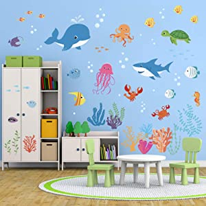 decalmile Under The Sea Dolphin Fish Wall Decals Vinyl Peel and Stick Kids Room Wall Stickers Baby Nursery Childrens Bedroom Bathroom Wall Decor