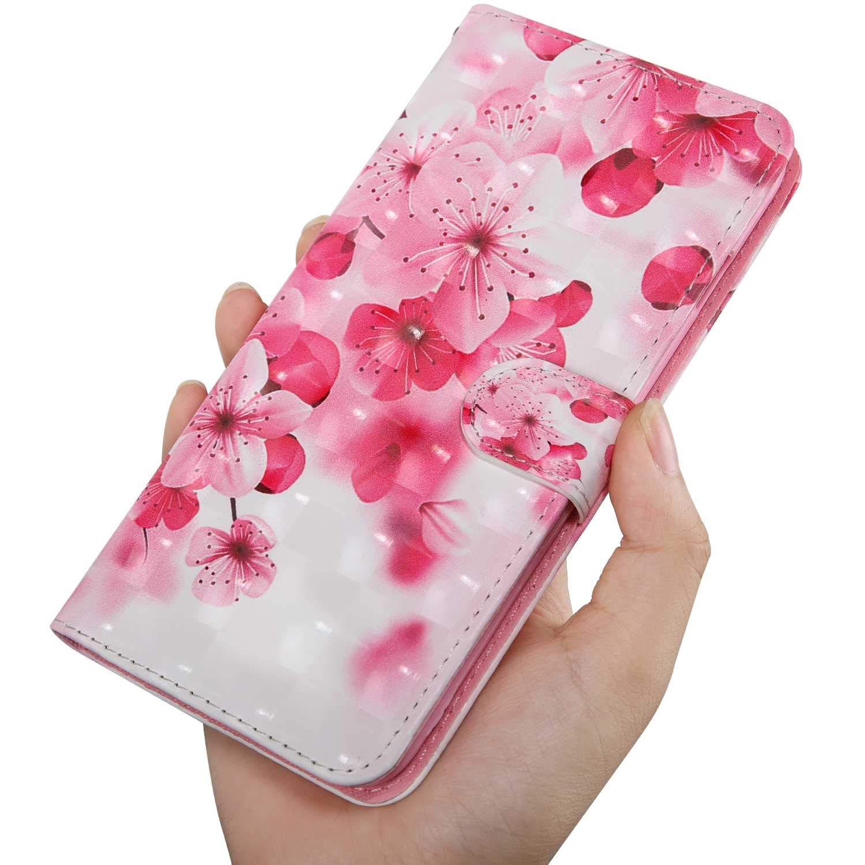 Fleur #1 Galaxy J2 Pro 2018 /Étui en Cuir /à Rabat avec Fermeture magn/étique et Emplacements pour Carte CAXPRO Coque pour Samsung Galaxy J2 Pro 2018 3D Motif Portefeuille Coque