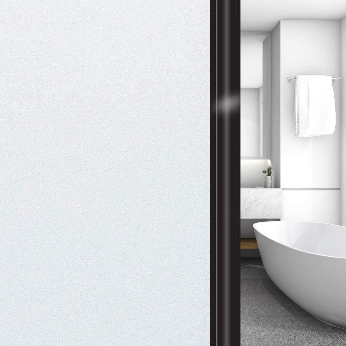 Privacy Blackout Window Glass Film No Glue(35.4 in x 32.8 Ft White ), Opaque Frosted Window Tint for Home, UV Blocking Heat Control Static Cling Non Adhesive for Bathroom Office Living Room