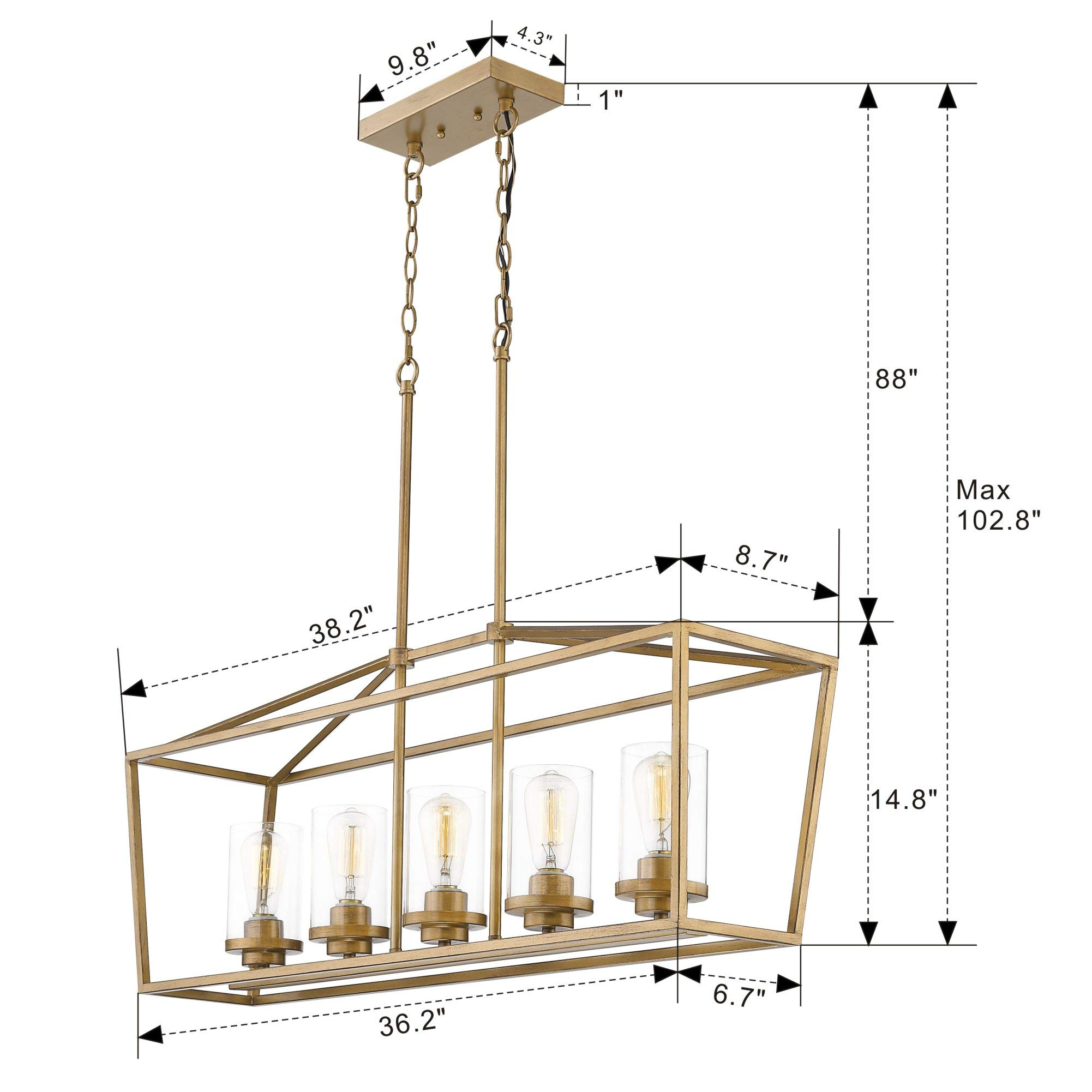Emliviar 5-Light Pendant Lighting for Kitchen Island, Dining Room Lighting Fixture, Antique Brass Finish with Clear Glass Shade, P3033A-5LP by EMLIVIAR (Image #7)