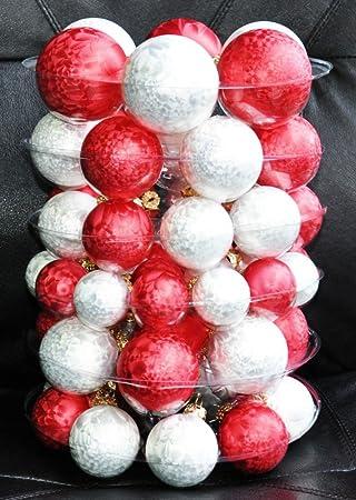 Christbaumkugeln Eislack Rot.60x Glas Eislack Christbaumkugeln Rot Weiß 4 5 6 7 Cm Weihnachtskugeln Kugeln