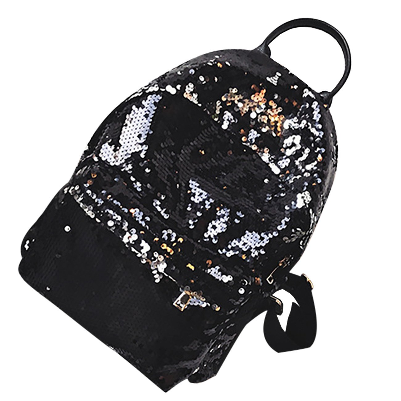 Black THEE Backpack Purse Bling Sequins School Bags for Teens Women