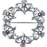 Broche Chardons de Grande Taille en Argent Massif ornée d'une Améthyste
