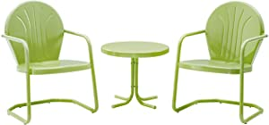 Crosley Furniture KO10004KL Griffith 3-Piece Retro Metal Outdoor Seating Set with 2 Chairs and Side Table, Key Lime